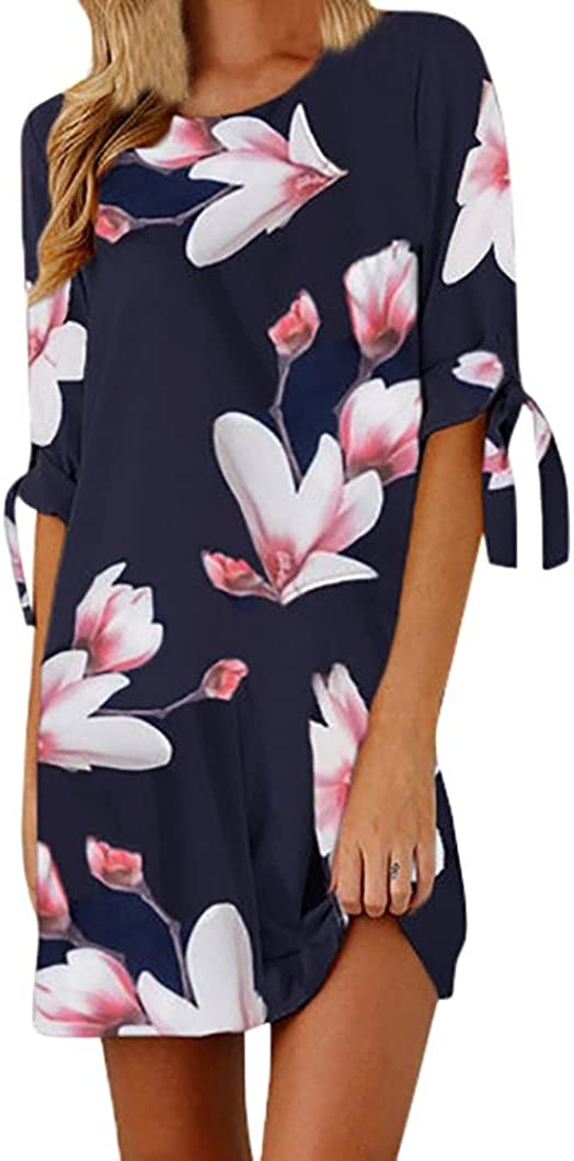 LISTHA Women Floral Dresses Print Bowknot Cocktail Mini Dress Beach Party