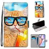 Miagon Flip PU Leder Schutzhülle für Samsung Galaxy A10S,Bunt Muster Hülle Brieftasche Case Cover Ständer mit Kartenfächer Trageschlaufe,Limonade Katze -