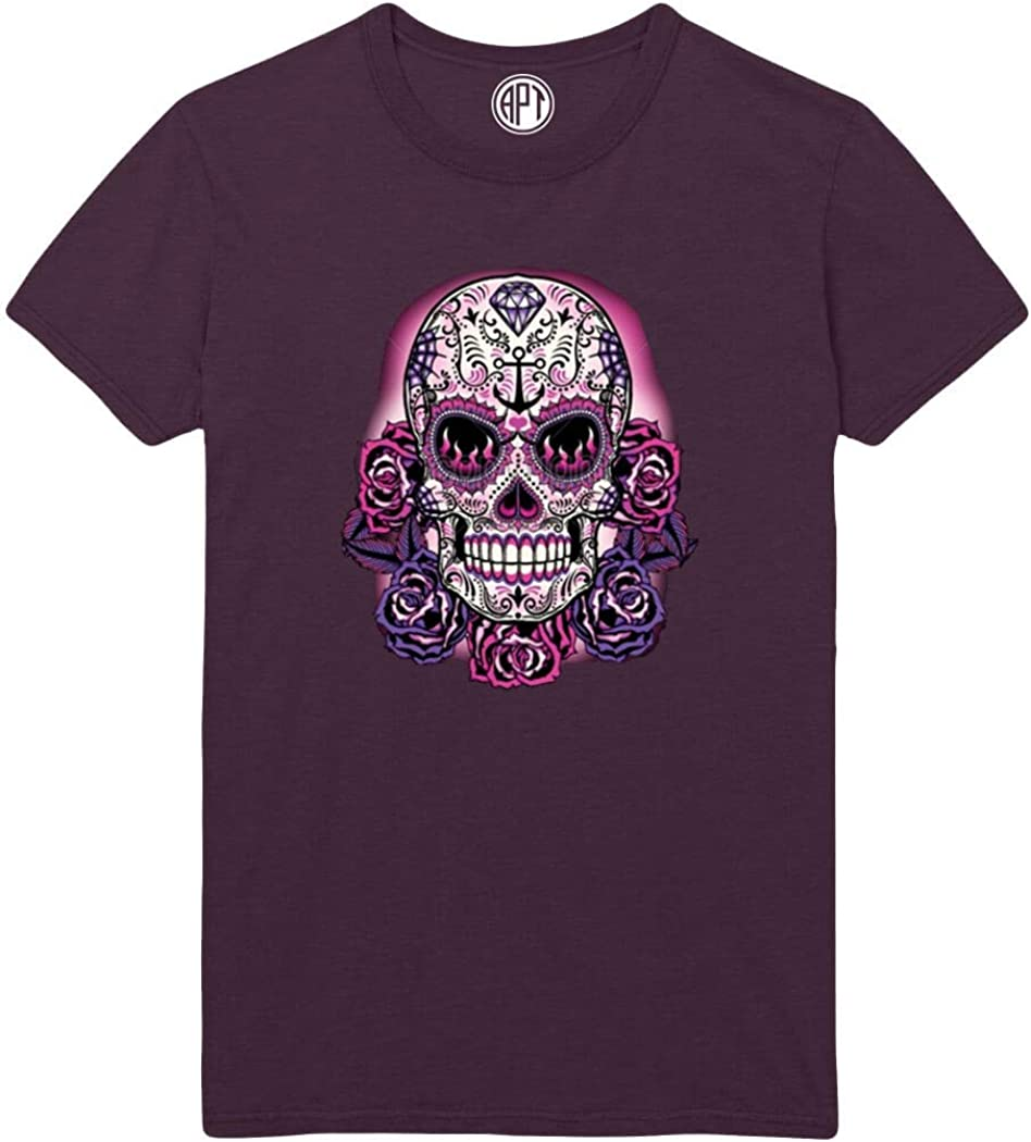 Pink Sugar Skull Day of The Dead Printed T-Shirt - Eggplant - 2XL