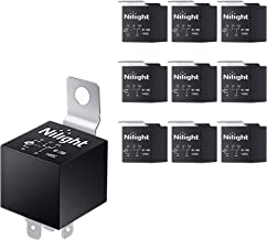 Nilight 50043R Socket 10 Pack SPDT Bosch Style Electrical 12V 30/40 Amp 5-Pin Relays Switch for Automotive Truck Marine Bo...
