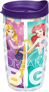 Tervis 1211629 Disney - Dream Big Princess Group Tumbler with Wrap and Royal Purple Lid 10oz Wavy, Clear