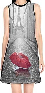 ブラックローズ 傘 レッド 雨 塔 花柄ワンピース ワンピース レディース カジュアル 夏物 夏服 スカート おしゃれ 洋服 ファッション 流行る