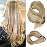 Clip in Human Hair Extensions Dirty Blonde with Bleach Blonde Highlights Straight Human Hair Extensions 7 Pieces 70 Gram Silky Weft Remy Real Hair Extensions 20 Inch