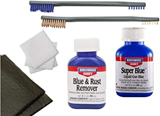 """Westlake Market, Birchwood Casey Blue and Rust Remover, Super Blue, Two Brushes, 3"""" Patches, Plus 2 Disposable Absobent Pads for Gun Restoration/Cleaning"""