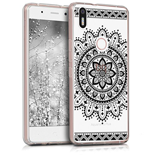 kwmobile bq Aquaris X5 Plus Hülle - Handyhülle für bq Aquaris X5 Plus - Handy Case in Aztec Blume Design Schwarz Transparent