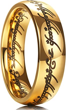 King Will 7mm Titanium Ring Gold Plated Lord of Ring Comfort Fit Wedding Band For Men Women