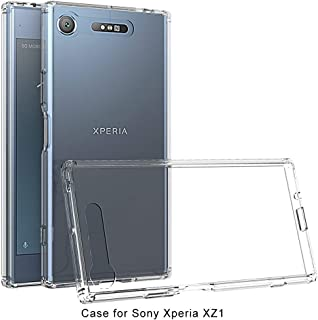 Phone case Scratchproof TPU + Acrylic Protective Case for Sony Xperia XZ1 (Black) (Color : Transparent)
