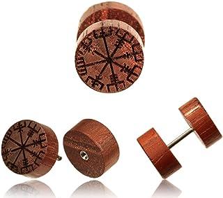 CHICNET® Finto dilatatore in legno vegvisir in acciaio inox e legno con incisione a bussola vichinga, unisex, in legno, pe...