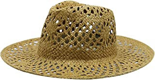 AINIYF Men's/Women's Collapsible Straw Hat, Summer Outdoor Climbing Travel Western Cowboy Hat Outdoor  Sun Protection UV Protection Beach Cap Sun Hat (Color : Brown)