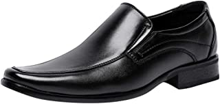Rizeson Men's Retro Round Head Casual Set of Lazy Shoes Business Leather Shoes Modern Classic Formal Tux Plain Toe Shoes Men's Bike Toe Slip on Loafer Monk-Strap Loafer