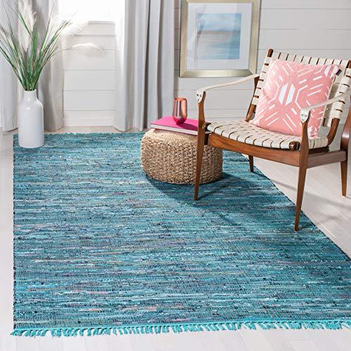 Safavieh Rag Rug Collection RAR121B Handmade Boho Stripe Cotton Area Rug, 5' x 8', Blue / Multi