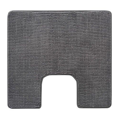 Ikea Toftbo Tapis de wc, tapis de toilette pelucheux absorbant en microfibre,55x 60cm,lavable en machine, disponible dans différentes couleurs, Microfibre, gris, 60 x 55 cm