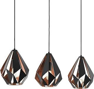 Lámpara colgante EGLO CARLTON 1, lámpara de suspensión con 3 bombilla, lámpara suspendida retro de acero, color: negro, cobre, casquillo: E27