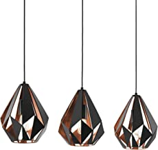 EGLO pendellamp CARLTON 1, 3 lichtbronnen Vintage pendelarmatuur, retro hanglamp van staal, kleur: zwart, koper, fitting: E27