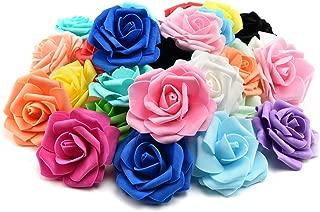 FDJHD Artificial Pe Foam Roses Flowers Heads for Fake Flower Home Wedding Decoration Artificial Flower Scrapbooking Kissing Balls Fake Flower 20pcs 7cm (Multicolor)