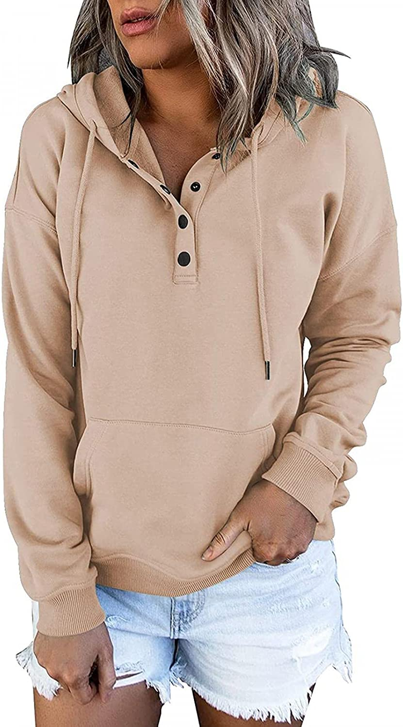 felwors Hoodies for Women, Womens Loose Pullover Hoodies Button Down Long Sleeve Casual Sweatshirt Basic Plus Size Coat