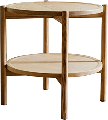 Ash Wood Small Round Table Double Layer Coffee Table Nordic Side Table Without Paint