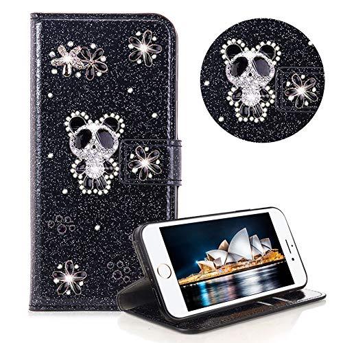 Glitzer Strass Brieftasche für iPhone 8,Schwarz Leder Handyhülle für iPhone 7,Moiky Luxus 3D Magnetisch Kristall Niedlich Panda Blumen Diamant Hülle mit Kartenfächer Ständer