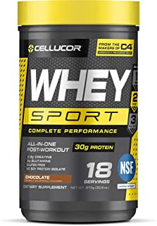 Cellucor Whey Sport Protein Powder, Post Workout Recovery Drink with Whey Protein Isolate, Creatine & Glutamine, Chocolate...