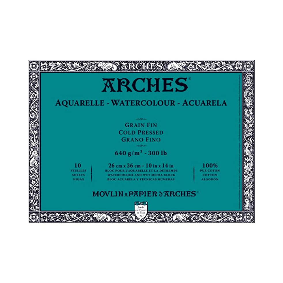 Canson Arches Block 300 Pound Cold Press (10 Sheets) 10 x 14 Inch