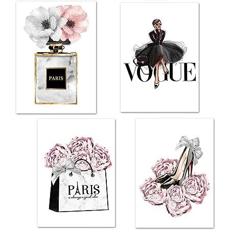 Lodintech Fashion Women Canvas Wall Art, Girls Bedroom Wall Decor, Pink Flowers Modern Art Posters, Perfume Handbags High Heels Prints Unframed Wall Pictures Paintings, Pink Women Room Decor, 8x12''
