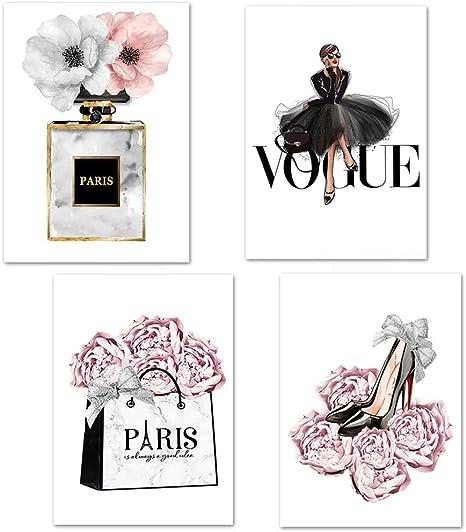 Amazon Com Lodintech Fashion Women Canvas Wall Art Girls Bedroom Wall Decor Pink Flowers Modern Art Posters Perfume Handbags High Heels Prints Unframed Wall Pictures Paintings Pink Women Room Decor 8x12 Posters