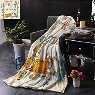 SSKJTC Colorful Orange Throw Blanket Gears and Chains Steampunk Dorm Bed Baby Cot Traveling Picnic W50 xL60