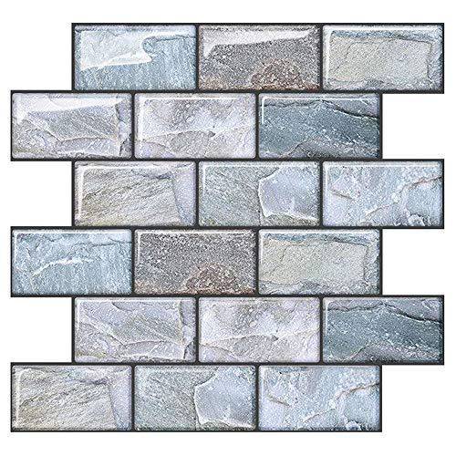 "Uoisaiko Peel and Stick Tile Backsplash for Kitchen Wall Tile Adhesive Brick Backsplash for Kitchen Bathroom Subway Tile Backsplash, 10""x10.6""(4 Sheets)"