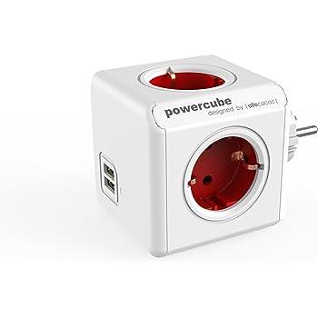 allocacoc PowerCube DuoUSB Original Rojo, Ladrón Multiple con 4 enchufes/Tomas de Corriente y 2 de USB en Forma de Cubo, Blanco Rojo