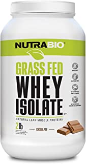 NutraBio Grass Fed Whey Isolate Protein (Chocolate, 2 Pounds)