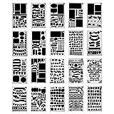 Bullet Journal Pochoir à Dessin,20 Pièces Plastique Guide de Lettres Flexible Forme Géométriques Planner Réutilisable Carte DIY Enfants Peinture pour Portable/Agenda/Scrapbooking/Art Projets 18x10.8cm