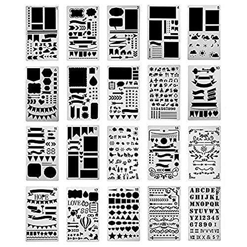 Pochoir à Dessin 20 Bullet Journal en Plastique, Guide de Lettres Pochoirs Forme Géométriques Planner Réutilisable Carte DIY Enfants Peinture pour Portable/Agenda/Scrapbooking/Art Projets 18x10.8cm