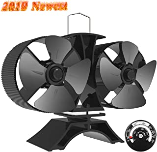 Sonyabecca 8 Blade Stove Fan Heated Powered Stove Fans Fireplace Fan with Double Motor Magnetic Themometer for Fireplace Wood Burning Stove
