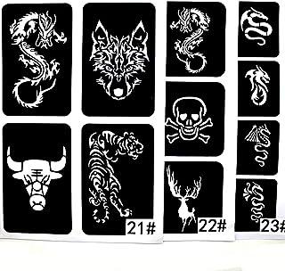 xmasir 22 hoja Cool dibujo purpurina plantilla de tatuaje para hombres lobo dragón tigre cráneo Animal