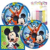 Mickey Mouse Themed Party Pack – Includes Paper Plates & Luncheon Napkins Plus 24 Birthday Candles – Servers 16