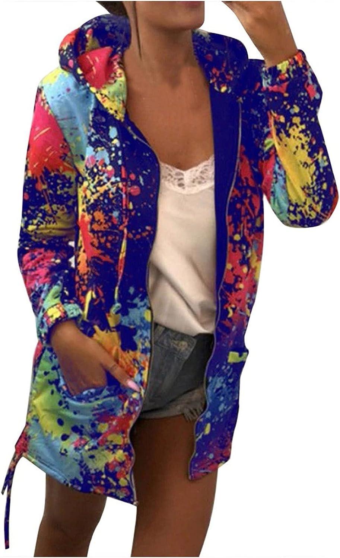 Tie Dye Hoodie for Women Casual Long Sleeve Zip up Hooded Sweatshirts Color Block Pockets Jacket Loose Fit Outerwear