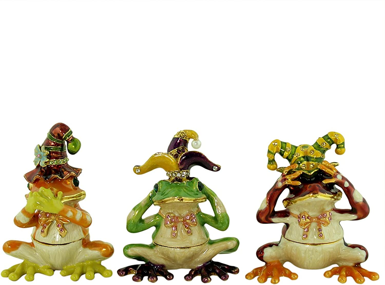 EchoMerx See, Hear, Speak No Evil Jester Frog Trinket Box Set
