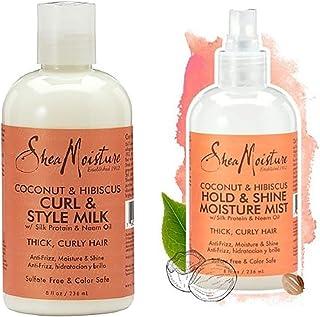 Shea Moisture Coconut & Hibiscus Curl & Style Milk 8oz   Coconut & Hibiscus Hold & Shine Moisture Mist 8oz