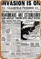 ブリキ看板ビンテージクラシックアメリカ飾り1944ノルマンディー侵攻見出しグッズ壁アート
