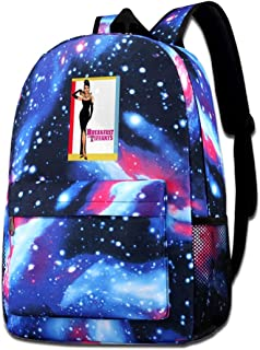 Galaxy Printed Shoulders Bag Audrey Hepburn Breakfast At The Tiffany's Movie Poster Fashion Casual Star Sky Backpack For Boys&girls