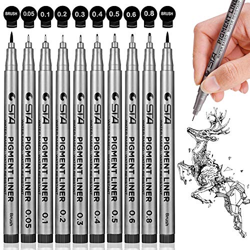 Precision Black Micro-Pen Fineliner Ink Pens, Waterproof Archival Ink Micro-Line Pens, Illustration...