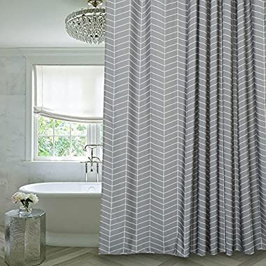 Aimjerry Grey Stripe Mildew Resistant Fabric Shower Curtain Water-Repellent,72 x72 ,Washable