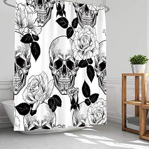 AMBZEK Floral Sugar Skull Shower Curtains Gothic Halloween Bathroom Decor Goth Rose Skeleton Bathroom Accessories Spooky Flowers Gifts for Men Artwork Fabric 60' W x 71' H, Black White