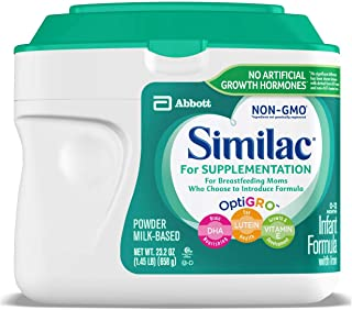 Similac For Supplementation, 4 Tubs, Gentle Non-GMO Infant Formula, for Breastfed Babies, with Prebiotics, Supports Brain ...