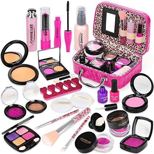 Sanlebi Prétend Maquillage Enfant Jouet Filles, 22PCS Malette Maquillage Jouet Ensemble De Maquillage Beauté Cadeau Fille 3 4 5 Ans(Faux Maquillage)