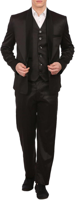 WINTAGE Men's Poly Blend Notch Lapel Black Tuxedo 3Pc Suit