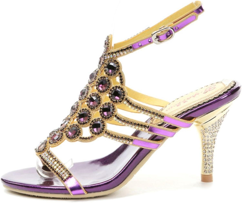 XIE Sommer-Reizvolle Hochhackige Schuhe Schuhe Schuhe der Neuen Frauen mit Rundem Kopf durchbohrten Rhinestone-Schnalle mit Open-Toe Sandaletten  c96d0d