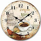 Round Wall Clock, Eruner Roman Style Decorative Wooden Clock 14-inch Country Cottage Kitchen Living Room Timepiece Sturdy Office Home Accessories Wall Decoration
