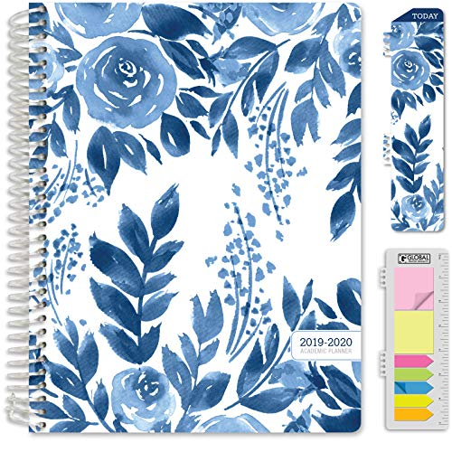 """HARDCOVER Academic Planner 2019-2020: (July 2019 Through July 2020) 8.5""""x11"""" Daily Weekly Monthly Planner Yearly Agenda. Bonus Bookmark, Pocket Folder and Sticky Note Set (Blue Bloom)"""