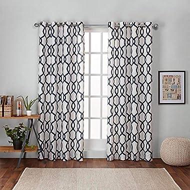 Exclusive Home Kochi Linen Blend Window Curtain Panel Pair with Grommet Top, Indigo, 52x84, 2 Piece